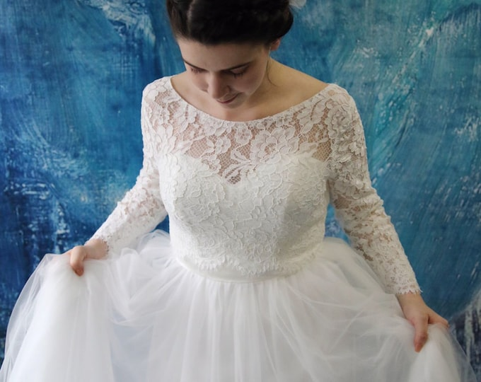 Paris Inspired White Long-Sleeved Stretch Lace Bridal Bolero. Wedding Dress Sold Separately, Dress is not included.