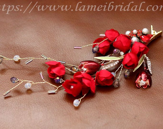 Embroidered Red flower Wedding Bridesmaid Flower Hair Clip with Rhinestone, Red  Bridal Hair Accessory