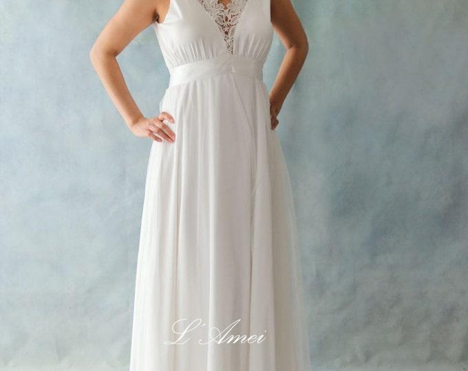 Clearance- Deep V Ivory white Floor length Stretch Silk-Chiffon with Cotton Lace Trim Wedding Bridal Dress Suitable for Boho Beach Wedding