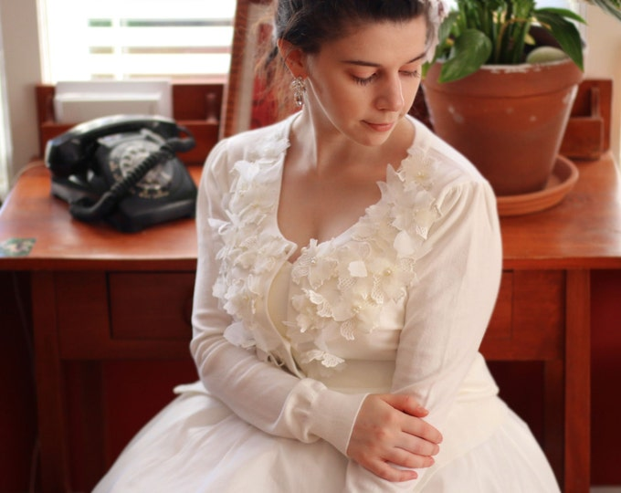 Clearance-Ivory White Flower Bridal Wedding Sweater. Can be used to accessorize any clothing for any occasion