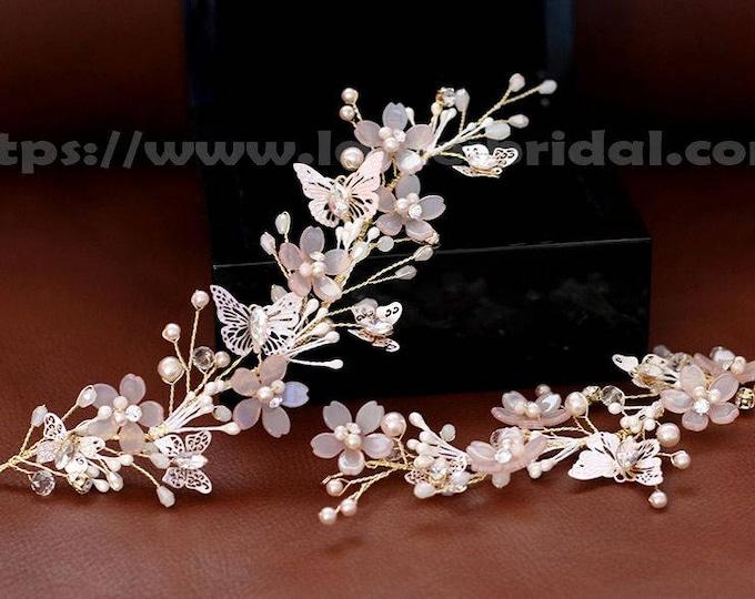 Bridal boho Pink  flower crown, floral bridal headdress, Gold blush flower hair vine,butterfly flower headband, Short blush Flower hair Vine