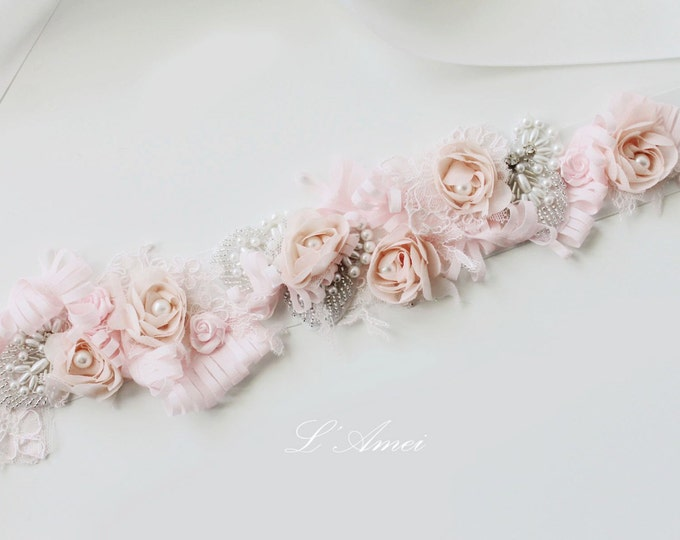 Blush Pink Flower Wedding Sash Bridal Belt Accented with Hand Beaded Bling and Faux Pearls, Light Pink wedding dress belt, Flower girl belt