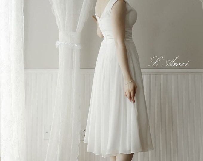 CLEARANCE - Simple Wedding or Bridesmaid Dress. Can be made with Chiffon. Also available in Plus Size
