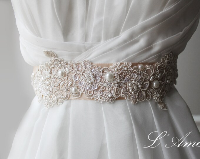 SALE- Soft Peach Lace Wedding dress sash , nude lace Bridal Sash Belt, Wedding Accessory, Lace wedding dress belt, prom dress sash