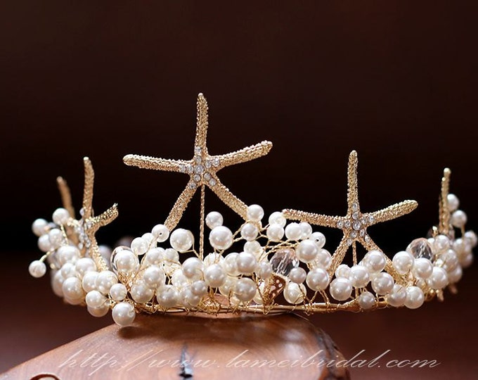 Golden wedding hair accessories, Gold Starfish bridal headpiece, Beach wedding pearl crown -Starfish Hair Tiaras, Gold floral head crown