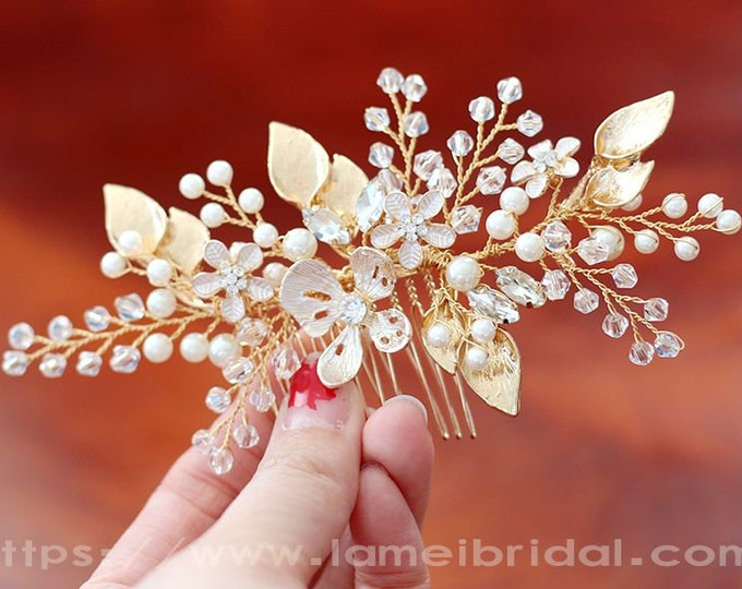 Victorian Inspired Gold Wedding Bridal Flower Hair Clip Accented with Pearl and crystal ,Small Gold Flower Bridal Hair Accessories