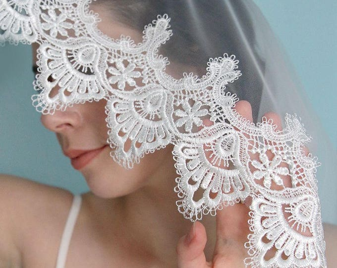 Long Alencon Lace Cathedral Mantilla Bridal Wedding Veil. Water soluble lace veil.Ivory white lace veil no comb