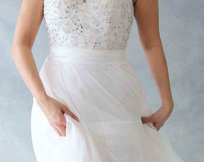 SALE- Simple Beach Style Silver Lace Bohemian Sweetheart Wedding Dress Bridal Gown with Beading Details