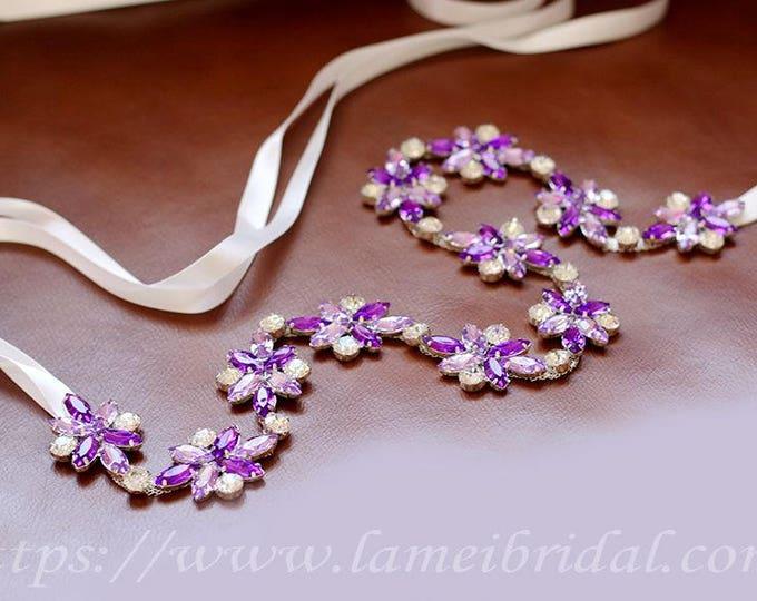 Ready To Ship - purple Rhinestone encrusted bridal belt, purple Crystal wedding dress Belt, Bridal Sash,Purple Crystal Bridal dress Belt