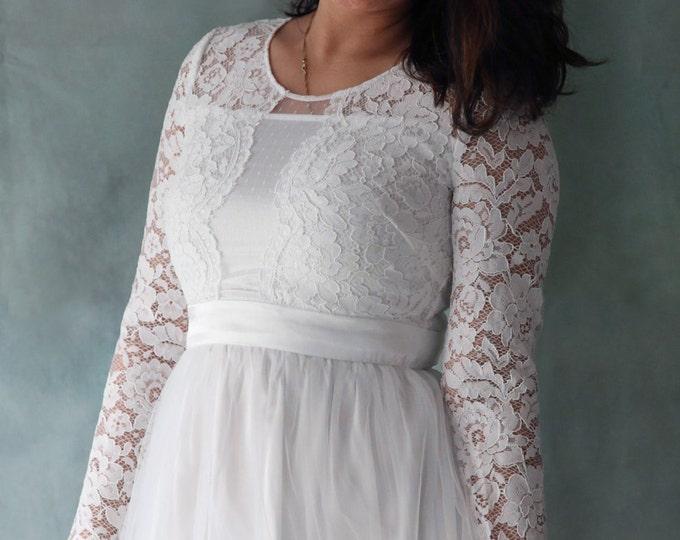 CLEARANCE - US8 -Affordable and Elegant Lace Boho  Long Sleeve Wedding Bridal Dress with Chiffon and Tulle Skirt -Elizabeth 2016-AM19836868