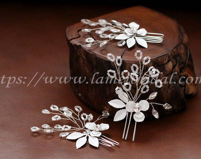 Small white and silver  Handmade Flower Hair Pin,Flower Bridal Hair Pins, Wedding Hair Pins,Set of 3 or 2