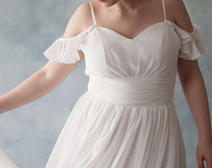 Dreamy Off Shoulder A-Line Soft Chiffon Wedding Dress - AM 9023952