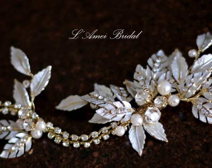 SALE-Gold Goddess Wedding headband with small Leaves , Crystal Rhinestone and pearl, vintage crystal leaf style bridal hair accessories