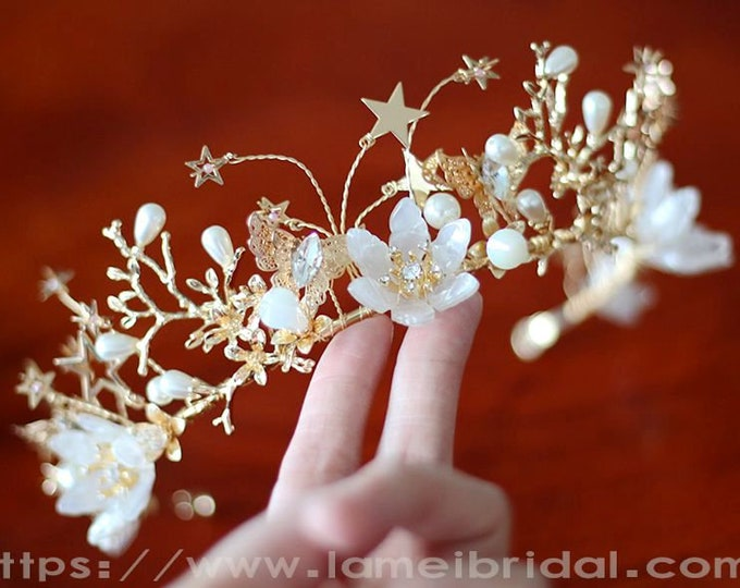 Light Gold Forest Princess wedding crown  Floral Bridal Circlet Small leaves and crystal Wedding Crown bridal Headpiece Wreath Accessory