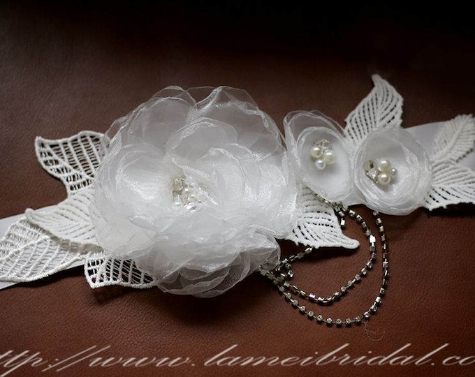 SALE-Simple Design Beautiful Hand Cut Flower Wedding Sash, Ivory white Flower Bridal Belt with lace leaf and Rhinestones tassel