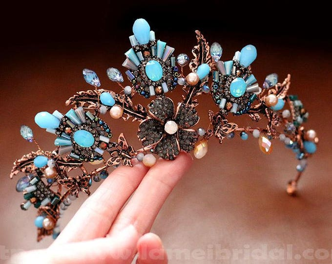 Woodland Princess blue and bronze Wedding hair crown , Black Crown bridal Tiara , Baroque crown,Gothic Evil Queen crown with Free earrings