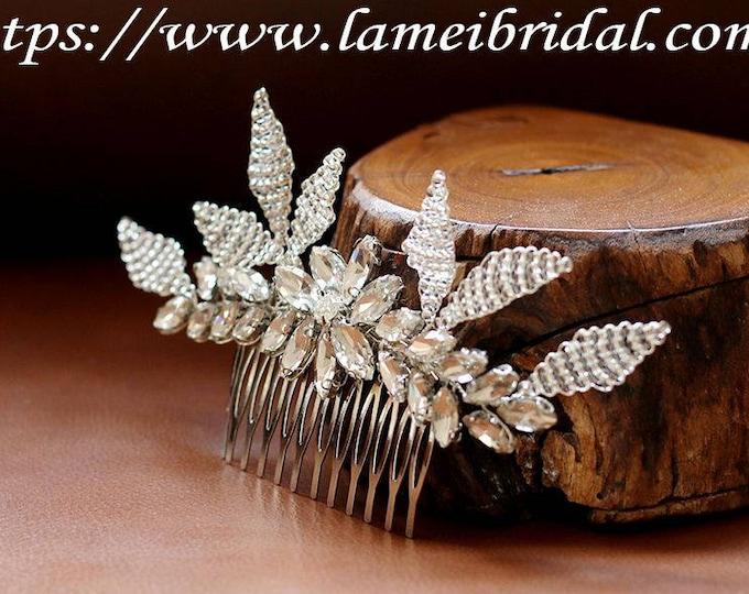 Clearance-Heavy beaded Bridal hair vine,silver wedding Bridal Hair comb Bridal Headpiece, Beaded silver leaf Bridal hair comb