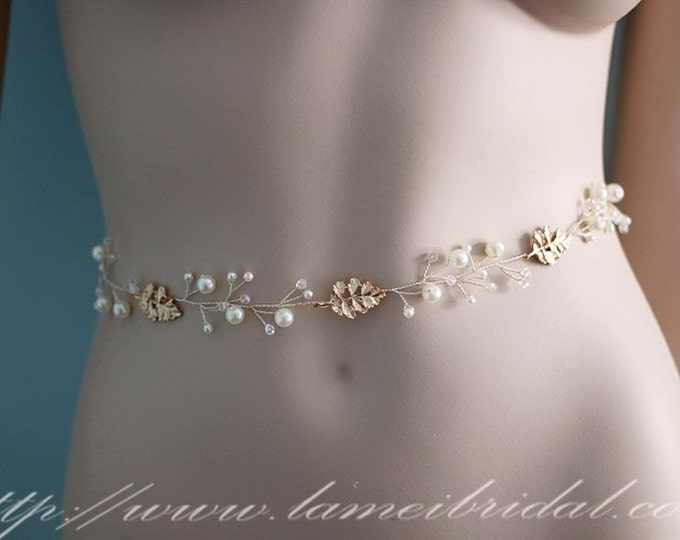 Bridal Sash Belt , Wedding Sash Belt , golden Leaf Rhinestone Sash Belt , Leaf and pearl Wedding Sash , Bridal Belt wedding dress Sash belt