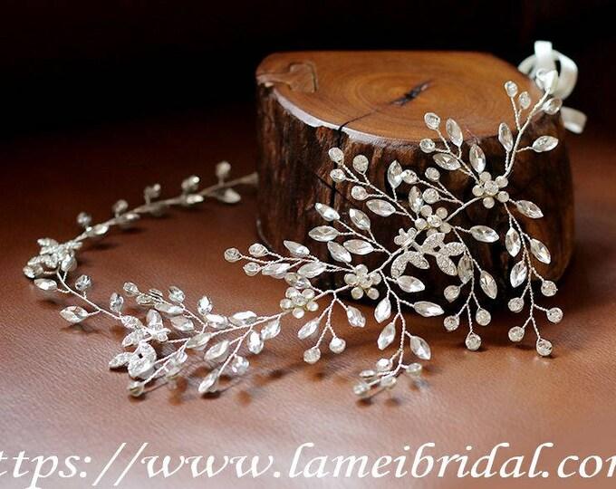 Hand made Rhinestone Crystal Bridal Wedding head Wreath ,Bridal Hair Vine of silver Rhinestone,Crystal headp