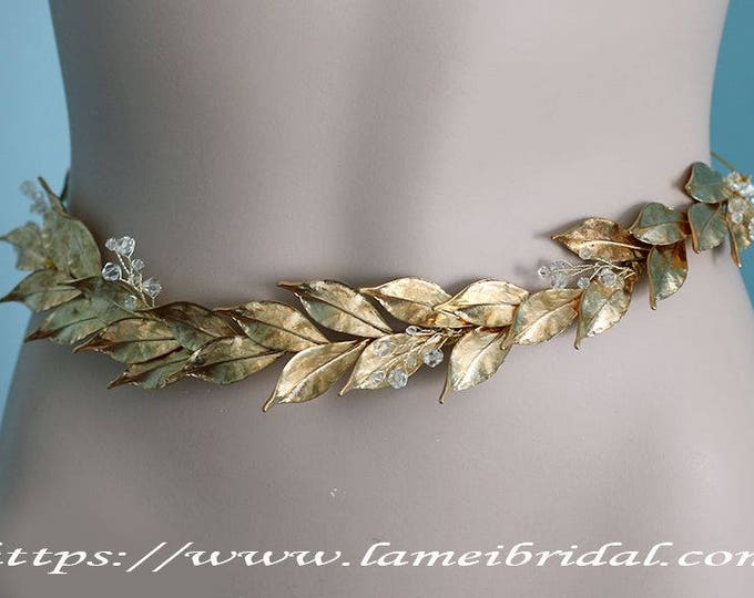 Woodland Queen Golden Wedding Bridal sash belt ,wedding dress belt with gold leaf ,Bridal leaf sash belt