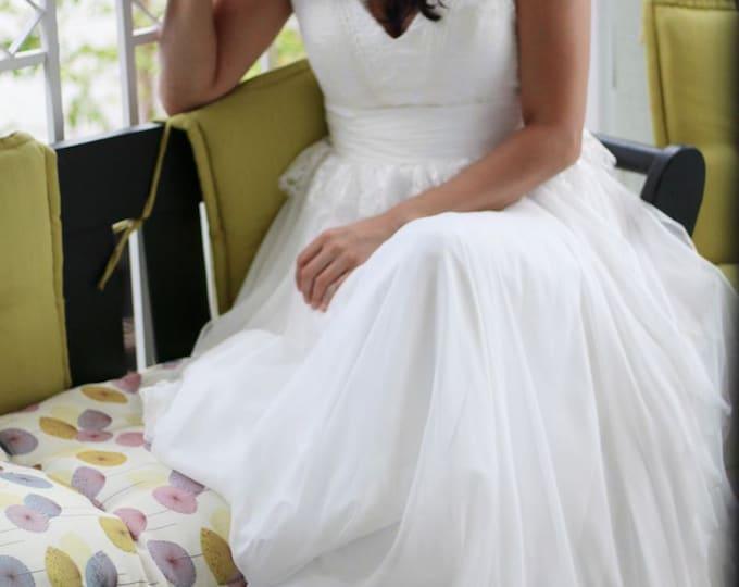 Custom French Lace and Silk Chiffon V Neck Boho Beach Wedding Dress with Deep V Back - AM 8997800