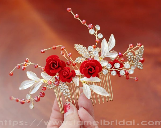 Vintage style wine red Rose hair comb ,Gold and red Flower with crystal on Metal Vine Hair comb , Bridesmaid hair clip