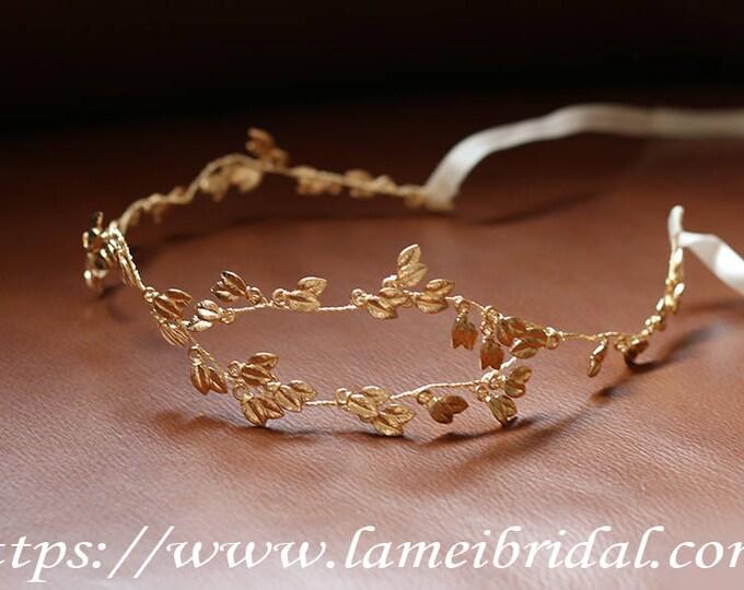 Woodland Queen Gold Wedding crown, Bridal Tiara,wedding Headpiece with small gold leaf ,Bridal leaf crown ,Bridal hair vine,Greek hair vine