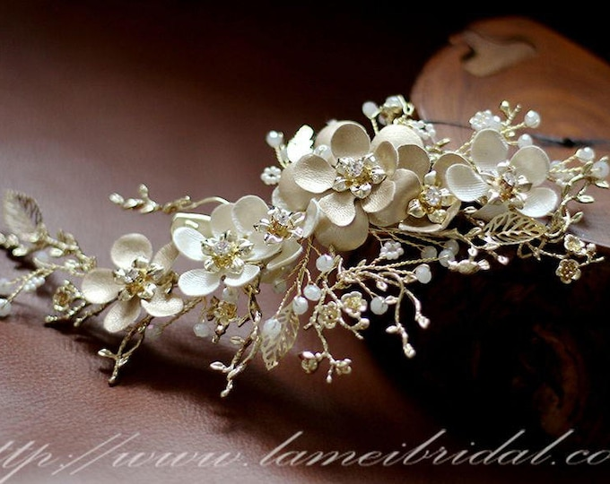 Victorian Inspired Gold Wedding Bridal Flower Hair Clip Accented with Pearl and crystal ,Gold Leather Flower Bridal Hair Accessories