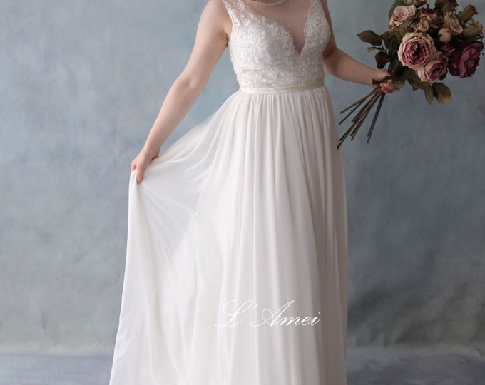 SALE-Romantic Ivory white Deep V illusion Neck Tulle and Lace Wedding Dress Good for Beach Wedding - AM 7862001 A-Line Chiffon bridal dress