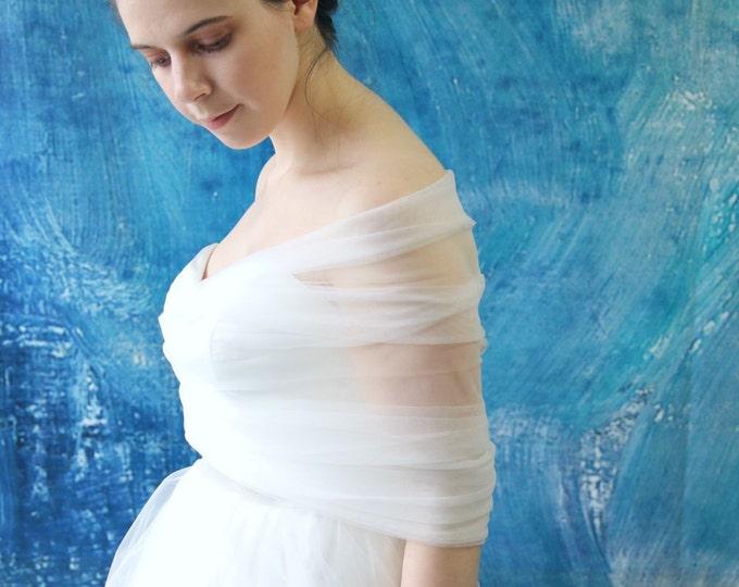 Simple Tulle Wedding Bridal Wrap Cape Shawl, Tulle Bridal Bolero, Wedding dress Bolero, Bridal Tulle Top
