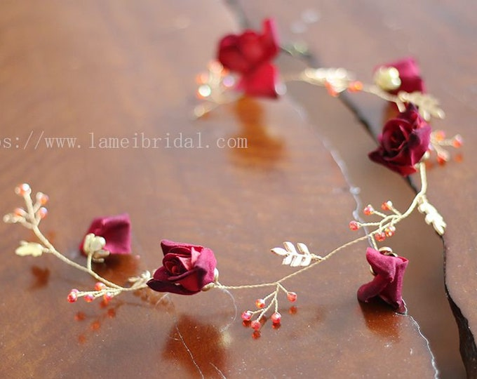 Wine Red rose hair vine, Golden Princess Wedding Headband, Red Bridal hair vine ,Gold fairy Tiara , Prom Headpiece,Boho flower hair vine