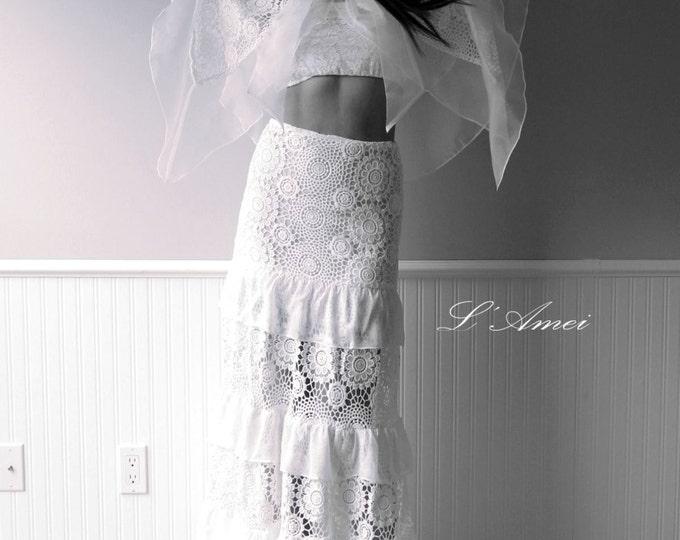 CLEARANCE - Long Lace Shawl Alternative Boho Wedding Dress for a Hip Bohemian Boho Wedding,  Floor length 2 pieces Lace wedding dress