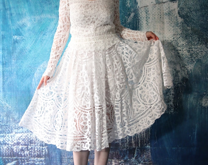 CLEARANCE - Ready to Ship - Tea Length Lace Wedding Dress 3 Piece Set - Alice in the Garden - Handmade Cotton Wedding Gown - L'Amei