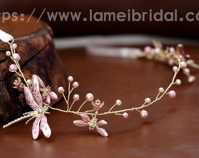 Gold Blush Whimsical Flower Crown ,Princess Wedding Headband ,Blush dragonfly Bridal hair vine ,fairy Tiara Prom Headpiece,Boho flower vine
