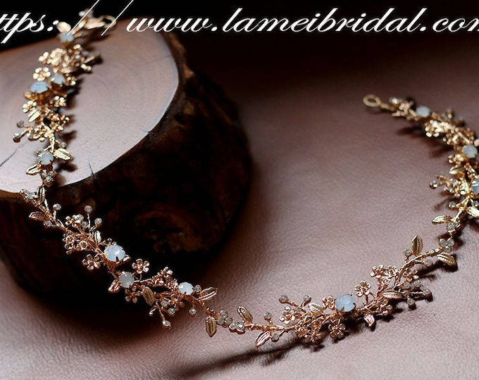 Golden Bridal  flower crown, floral bridal headdress, Golden wedding flower vine, Swarovski Pearl Hairband,Gold Boho bridal headband