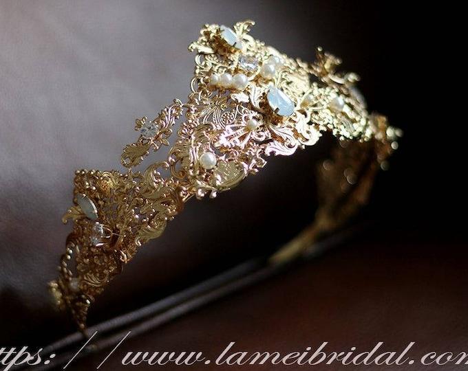 Golden Retro Wedding Crown, Gold Bridal Tiara ,Art Deco Inspired Metal Wedding Hair Accessory