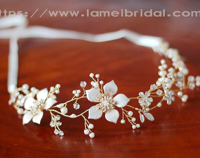 Golden leaf Wedding hair vine ,Bridal Tiara,wedding Headpiece with gold Flower ,Bridal leaf crown ,Bridal headpiece - Greek hair accessory