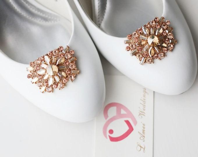 Pair Crystal Rhinestone Wedding Bridal Shoe Clips Type 2