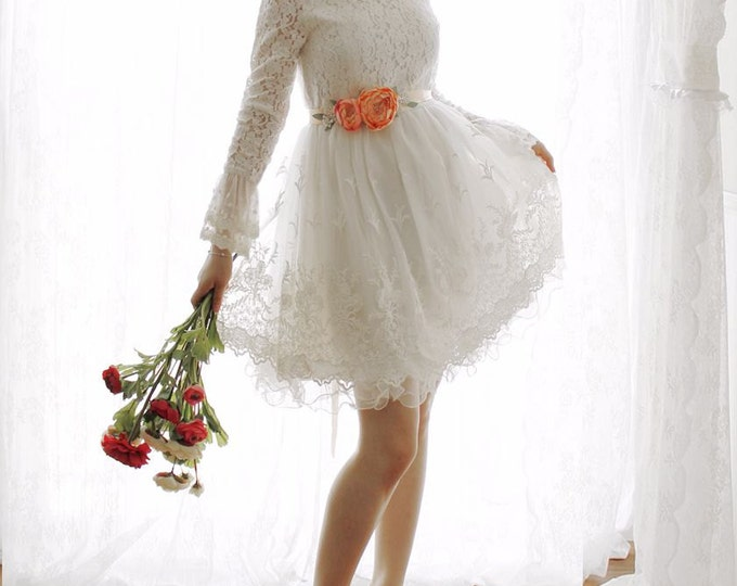 Custom Alice in the Garden Short Lace Wedding Dress with Long Sleeves and Trumpet Cuff - 198168298