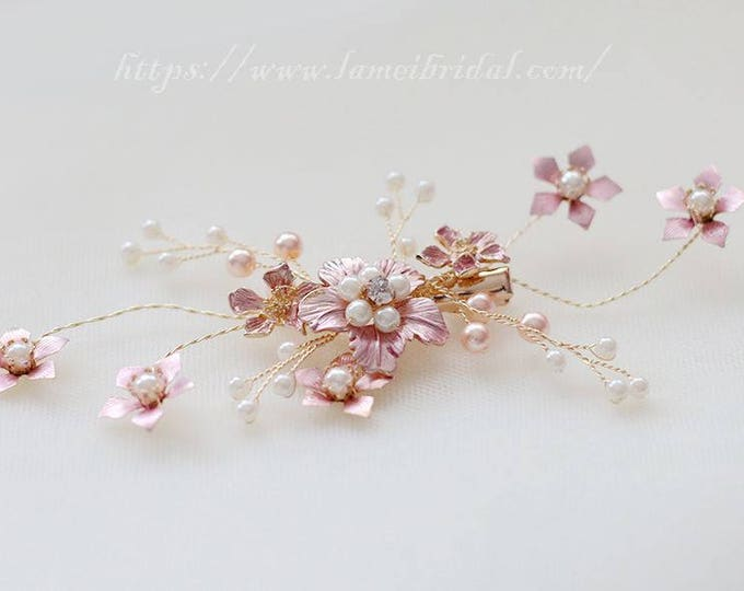 Victorian Inspired Gold pink Wedding Bridal Flower Hair Clip Accented with Pearl and crystal ,Gold pink blush Flower Bridal Hair Accessories