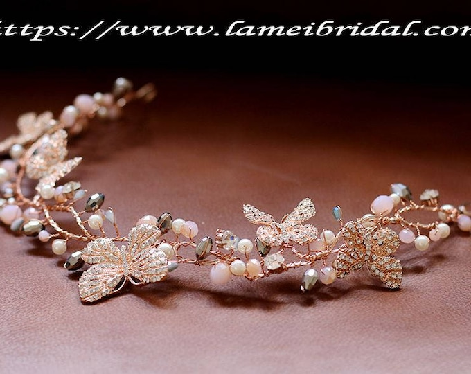 Rose Gold Wedding hair Vine Woodland Wedding Headpiece butterfly Flowers ,beads, rhinestones, Wedding Hair Accessory, Rose Gold Bridal Tiara