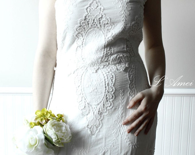 CLEARANCE - Handmade V neck floor length Ivory White  Cotton Wedding Bridal Dress with High Quality Embroidery Details.
