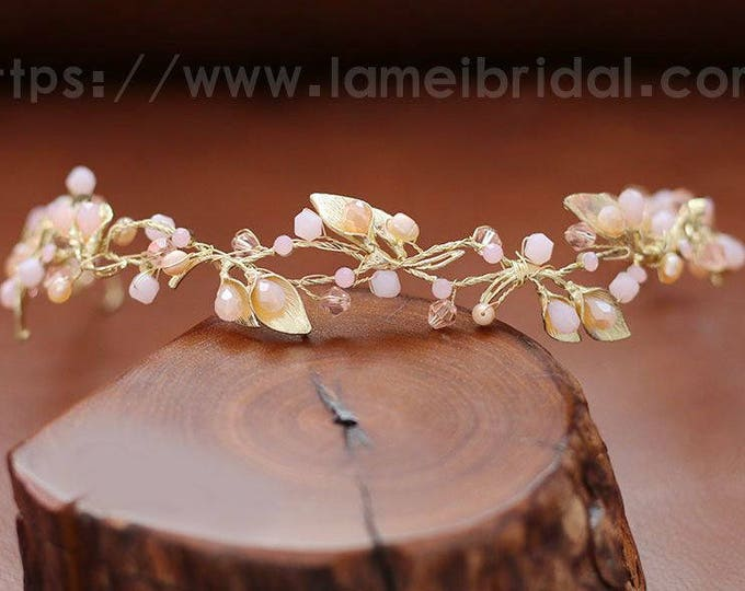 Hand made Pink Flower with Rhinestone Bridal Wedding hair vine , hair Wreath, gold and Blush Headband , crystal and pink small flowers