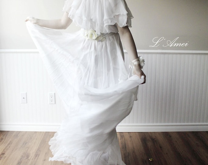 Off  shoulder Floor length A-Line Ivory White Silk Chiffon Long Beach Wedding Bridal Dress Great for Hipster Boho Wedding. belt Not included