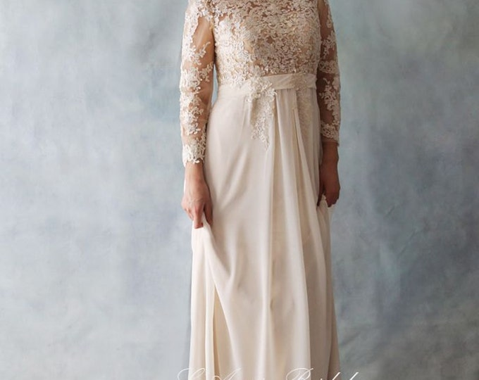 SALE-Affordable Fitted Long-Sleeve Light Golden French Lace Bridal Wedding Dress. Light and Comfortable