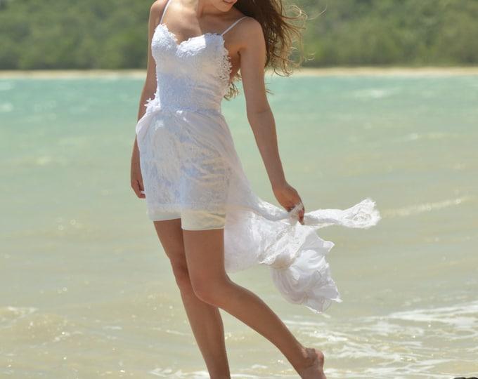 Custom made Sexy Backless White / Ivory Lace Long Chiffon Boho Beach Wedding Dress, Low back lace wedding dress