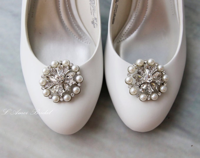 Set of 2 Crystal Rhinestone and Faux Pearl Wedding Bridal Shoe Clips - YL032305020