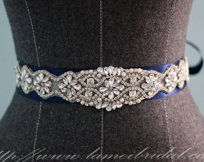 Navy Blue Rhinestone  Wedding Sash Belt, Hand-beaded Bridal Sash, Royal Blue Wedding Accessory with Pearl Rhinestone Accents