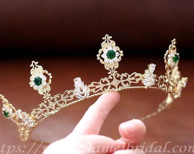 Green rhinestones Headpiece ,Gold bridal crown, prom or Wedding Hair Accessories, Retro design queen crown ,Wedding Headpiece