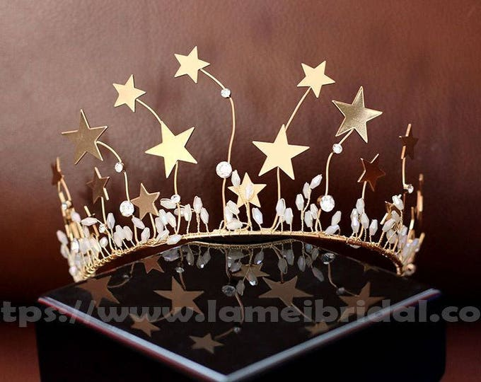 Gold star crown,Gold Bridal Headpiece Headband with Super Cute small stars and free earrings ,Prom,birthday or holiday headband ,star crown